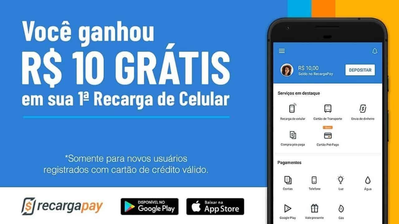 R$10 Reais Grátis na 1ª Compra na RecargaPay