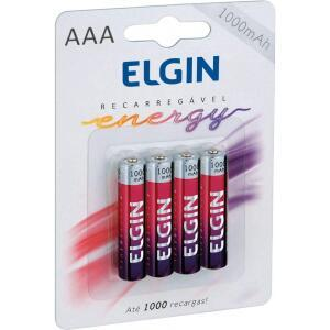 Pilha Recarregável Ni-Mh Aaa-1000Mah Blister Com 4 Pilhas - Elgin - Baterias