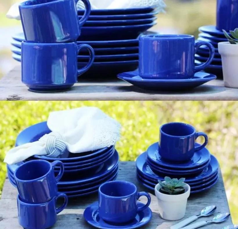 Aparelho de Jantar Chá 20 Peças Biona Cerâmica – Redondo Azul Donna