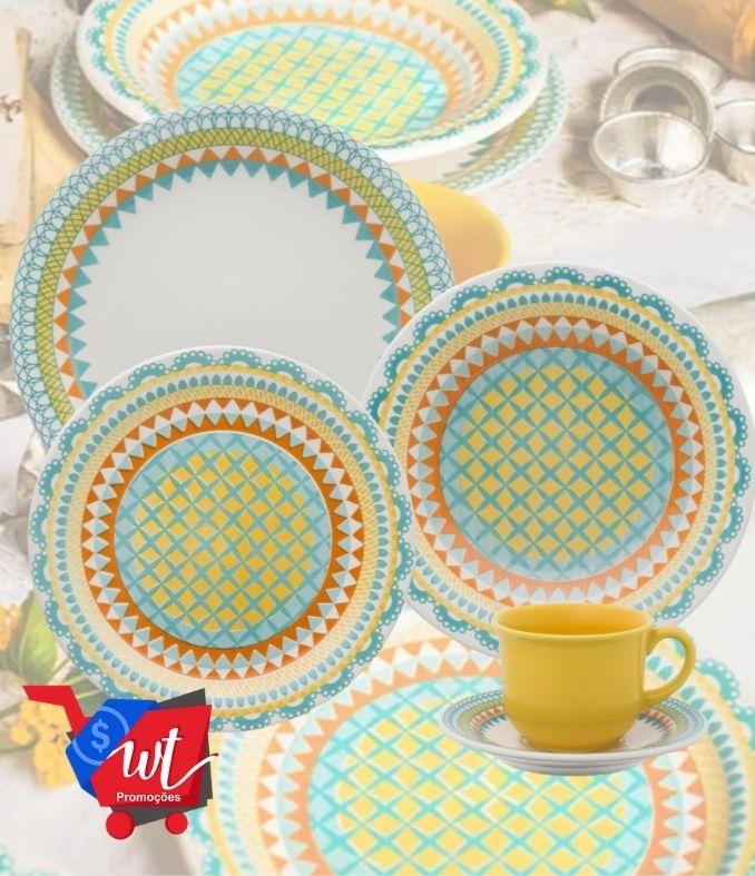 Aparelho de Jantar Chá 30 Peças Cerâmica Floreal Bilro Colorido – Oxford