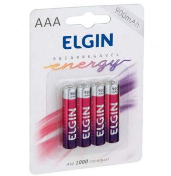 Pilha Recarregável Ni-MH AAA-900mAh blister com 4 pilhas, Elgin, Baterias, 82169