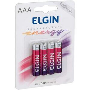 Pilha Recarregável Ni-MH AAA-900mAh blister com 4 pilhas - Elgin - Baterias - 82169