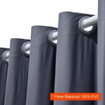 Cortina Blackout em PVC para Varão Filme Cinza 280×180