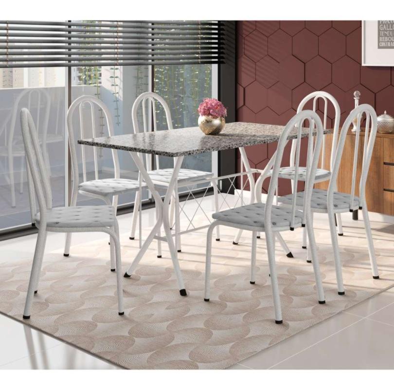 Conjunto de Mesa com 6 Cadeiras Bruna Cinza e Estampa Capitonê