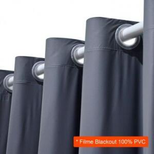Cortina Blackout em PVC para Varão Filme Cinza 280x180