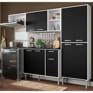 Cozinha Compacta Savona 9 PT 1 GV Branca e Preta