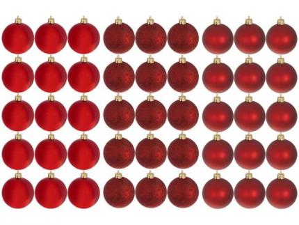 Kit Bola de Natal Vermelha NATAL073 Casambiente – 6cm 45 Unidades