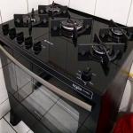 Fogão 5 Bocas de Piso Preto – Acendimento Automático Expert Agile Glass