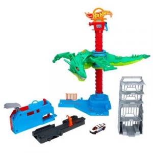 Pista de Percurso e Veículo - Hot Wheels City - Ataque Aéreo do Dragão - Mattel