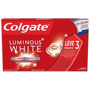 2 Pacotes Creme Dental Colgate Luminous White Brilliant Mint 70G Promo Leve 3 Pague 2