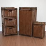 [4 Cores] Kit Gaveteiro 3 Gavetas Cesto de Roupas 30×60 e Lixeira 20×30 Fibra Sintética Palha Indiana Marrom – Atelie Isa
