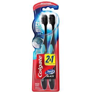 2 unidades Escova Dental Colgate 360º Preto