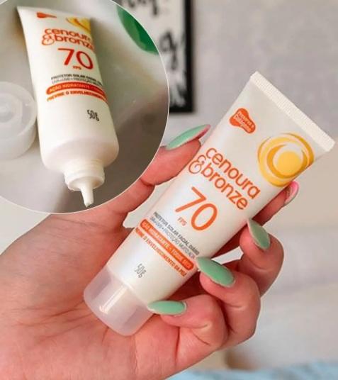 Protetor Solar Facial Cenoura e Bronze – FPS 70 50g