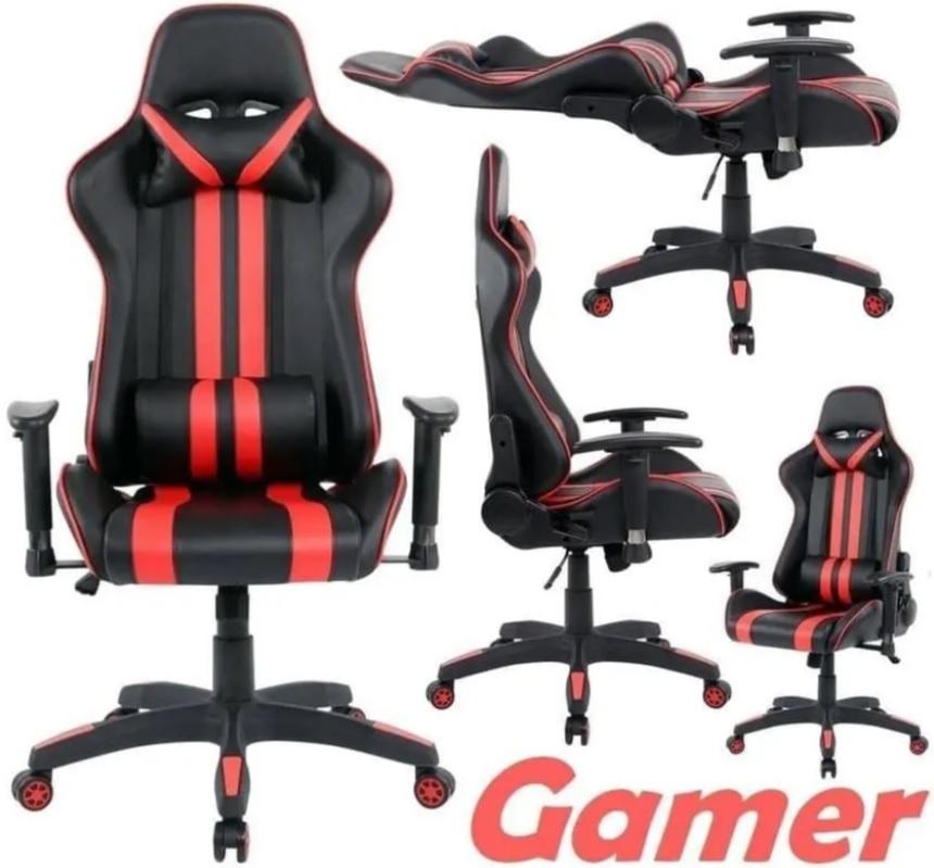 Cadeira Gamer Travel Max Reclinável – Preta e Vermelha Sports