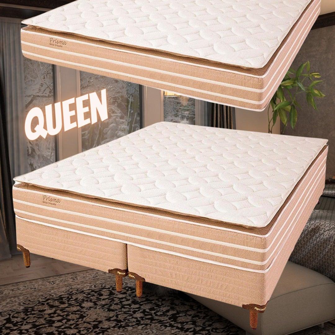 Cama Box Queen (Box + Colchão) Reconflex – Mola Ensacada 65cm de Altura Prisma