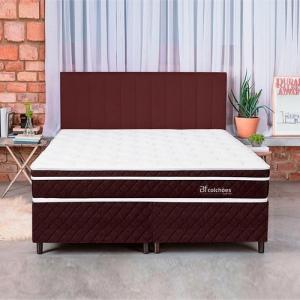 Cama Box Colchão King Pillow Top Mola Ensacada E Espuma Selada Confort 193x203x57cm - BF Colchões