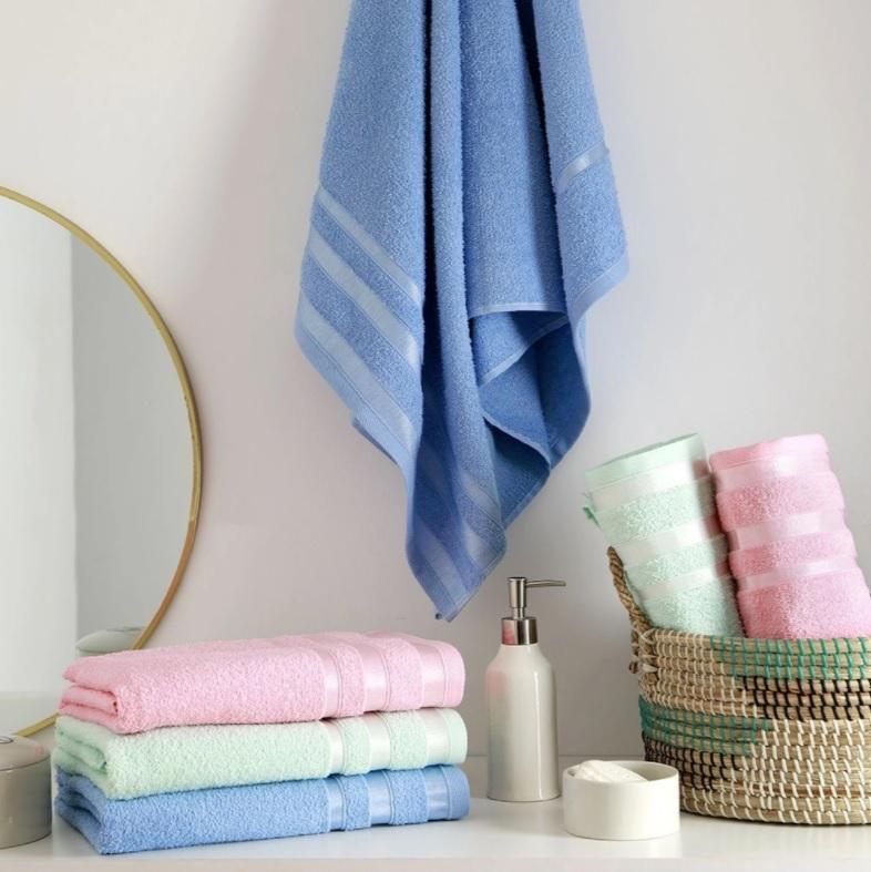 Jogo de Toalhas Banho 6 Peças Verde, Rosa e Azul Fernanda – Basic+