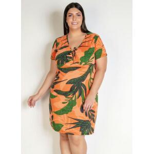 Vestido Curto Folhagem com Amarração Plus Size - Marguerite