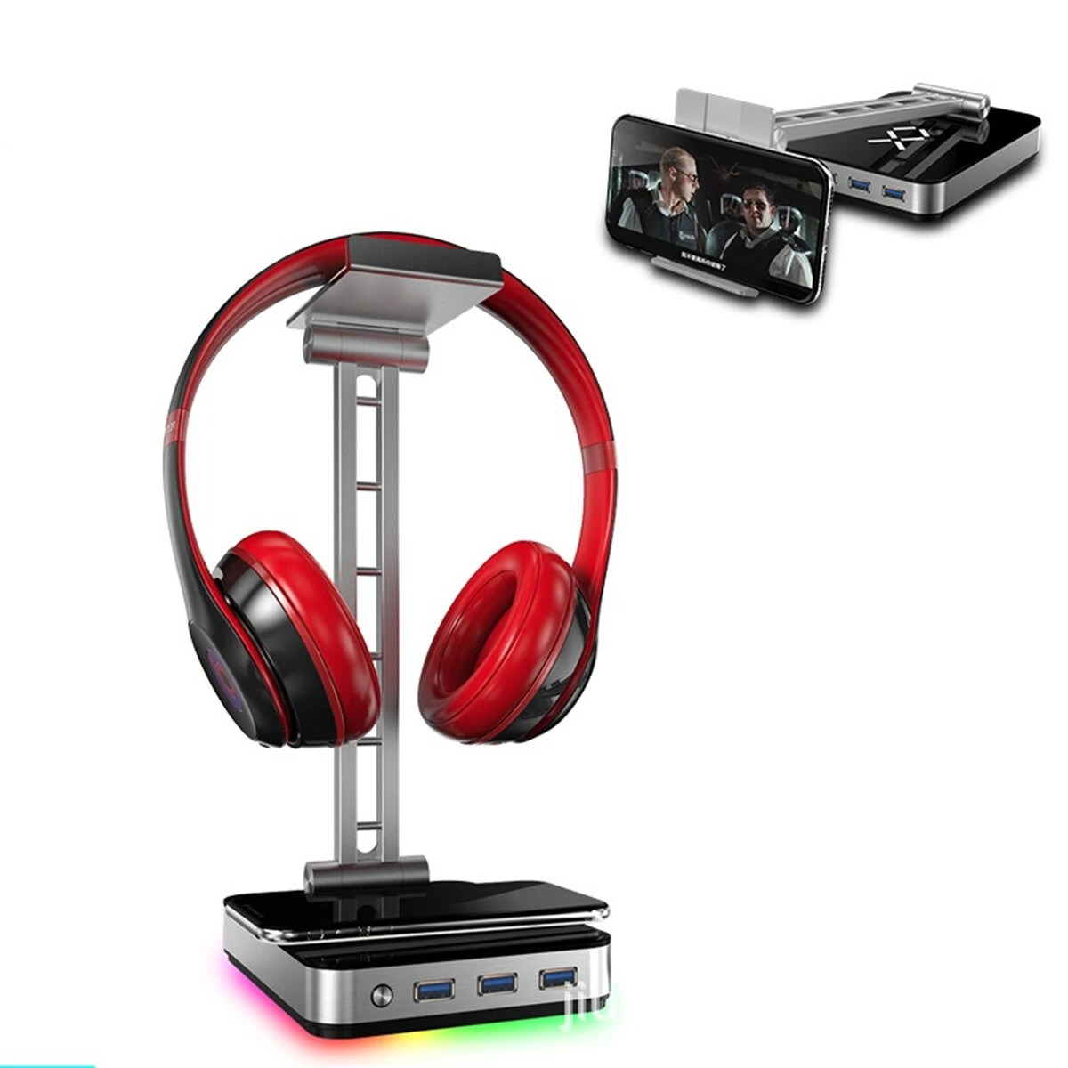 JIUSHARK JSR-1 RGB Headphones Stand with USB Ports