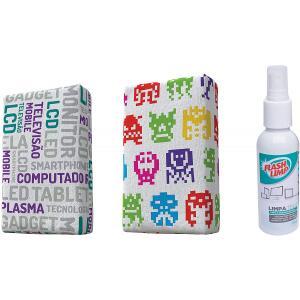 Kit com 2 Esponjas Microfibra e 1 Limpa Telas Spray 120ml Estampas Sortidas Flash Limp