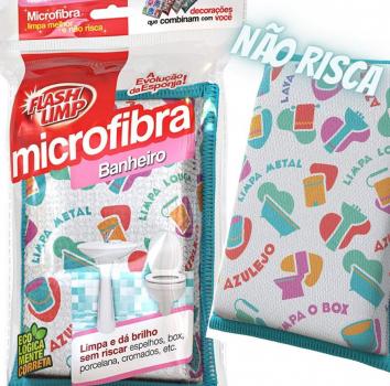 FLASH LIMP, Esponja Microfibra para Banheiro Bathroom 5 peças, Decorado