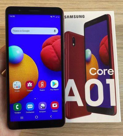 "Smartphone Samsung Galaxy A01 Core Dual Chip Android 10.0 Tela 5.3"" Quad-Core 32GB Wi-Fi Câmera 8MP"