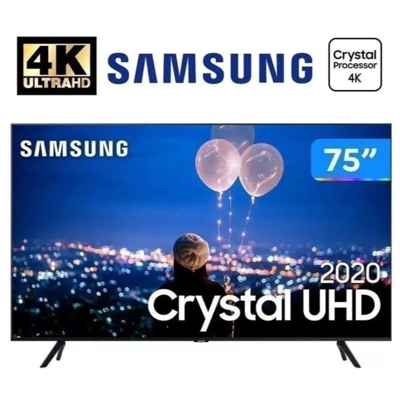 Smart TV LED 75″ UHD 4K Samsung 75TU8000 Crystal UHD, Borda Infinita, Alexa Built In, Visual Livre de Cabos, Modo Ambiente Foto, Controle Único – 2020
