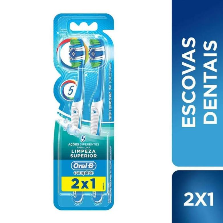 Escova Dental Oral-B Complete 5 Ações de Limpeza 40 Macia – 2 Unidades