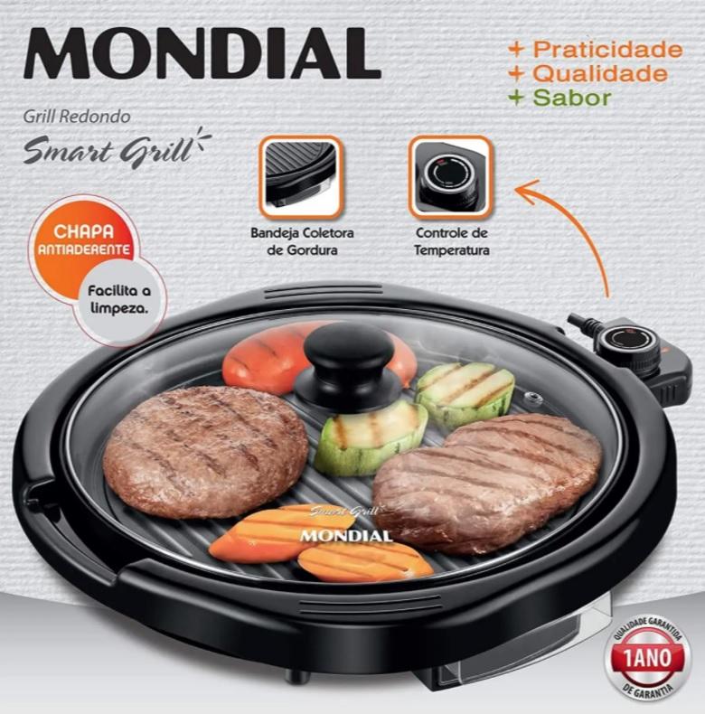 Mondial G-04 Grill Redondo Smart Mondial 2 em 1, 127V – 1.200W, Preto