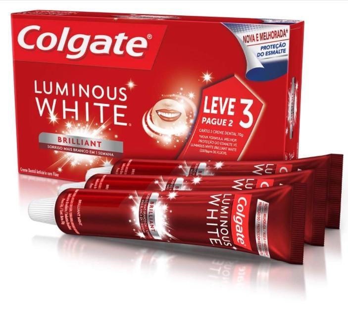 Creme Dental Colgate Luminous White Brilliant Mint 70G Promo Leve 3 Pague 2