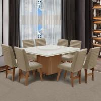 Conjunto Sala de Jantar Mesa Cedro Off Tampo Giratório 8 Cadeiras Creta Amsterdã Dobuê Areia