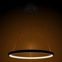 Lustre Pendente Anel Ring Preto 1 Arco 20w 40cm Led Integrado Bivolt St459