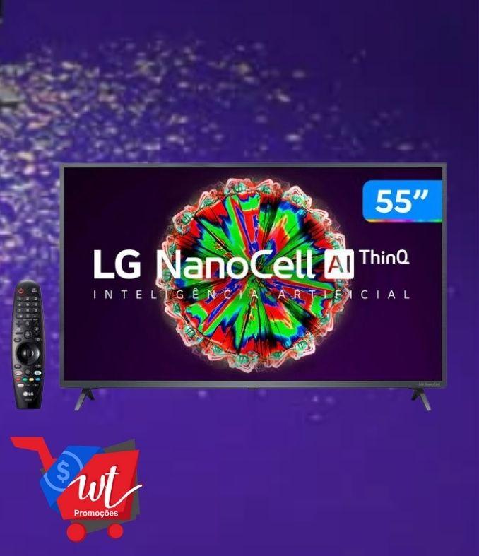 "Smart TV 4K UHD NanoCell IPS 55"" LG 55NANO79SND – Wi-Fi Bluetooth Inteligência Artificial 3 HDMI"