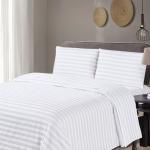 Jogo de Cama Casal 300 fios 100% algodão adamascado Branco Soho – Classic Home