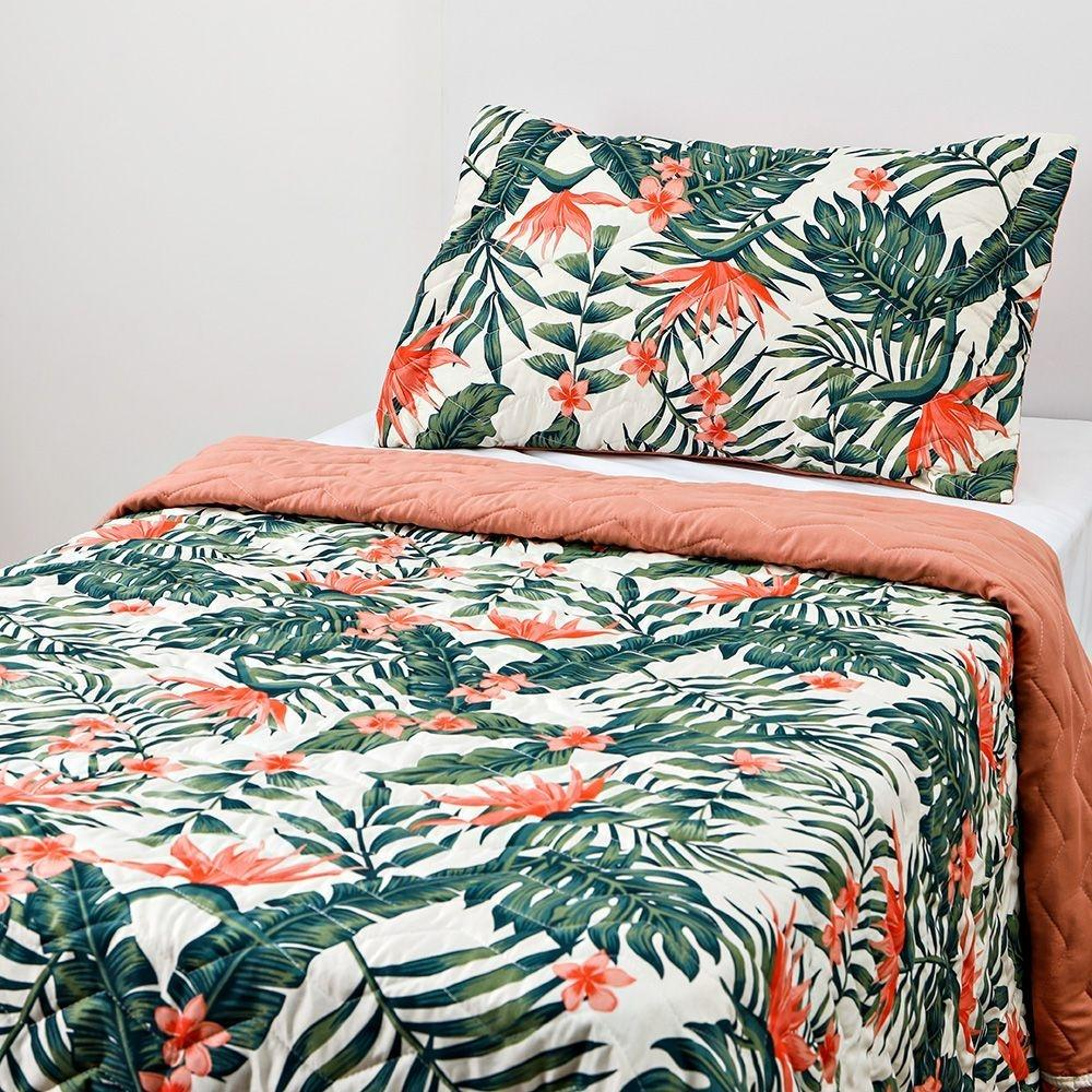 Colcha Boutis Solteiro com Porta Travesseiro 2 Peças Dupla Face Diana Floral Tropical – Basic+
