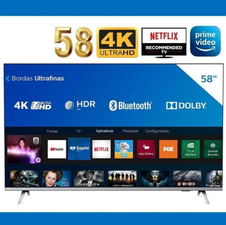 Smart TV LED 58″ Philips 58PUG6654/78 Ultra HD 4k Design sem Bordas