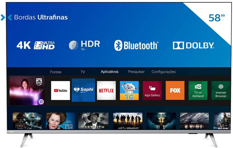 Smart TV Philips 58″ 58PUG6654/78 4K UHD HDR10+ Dolby Vision Dolby Atmos Bluetooth WiFi 3 HDMI 2 USB – Prata Bordas ultrafinas