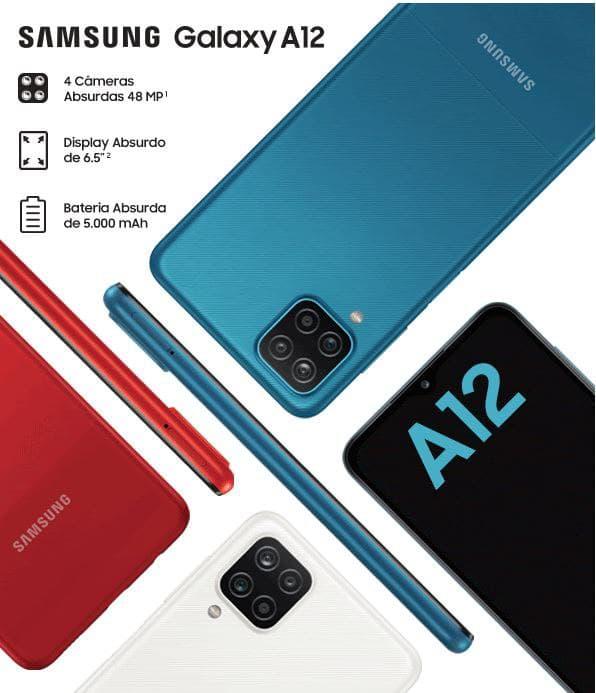 "Smartphone Samsung Galaxy A12 64GB Azul 4G – Octa-Core 4GB RAM 6,5"" Câm. Quádrupla + Selfie 8MP"