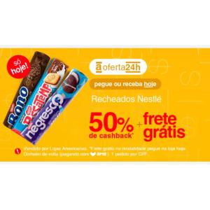 Bolachas/Biscoitos Recheados com 50% de Cashback + Frete Grátis
