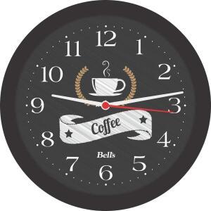 Relogio de Parede Redondo - Coffee - 21.7cm - Preto - Bell´s
