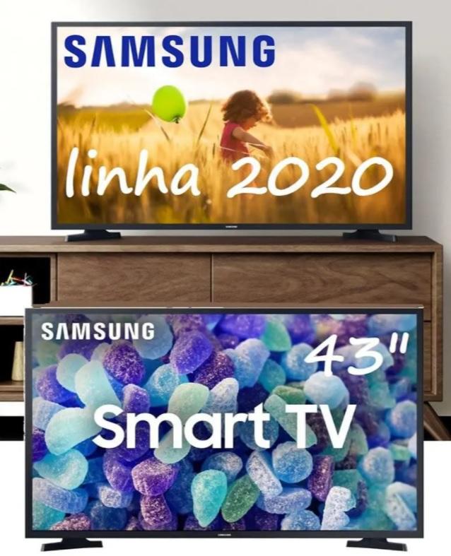 "Smart Tv Led 43"" Samsung Full HD + WIFI, HDR para Brilho e Contraste, Plataforma Tizen, 2 HDMI, 1 USB – Preta"