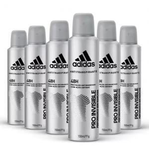 Kit Desodorante Aerossol Adidas Invisible Masculino com 150ml com 6 unidades