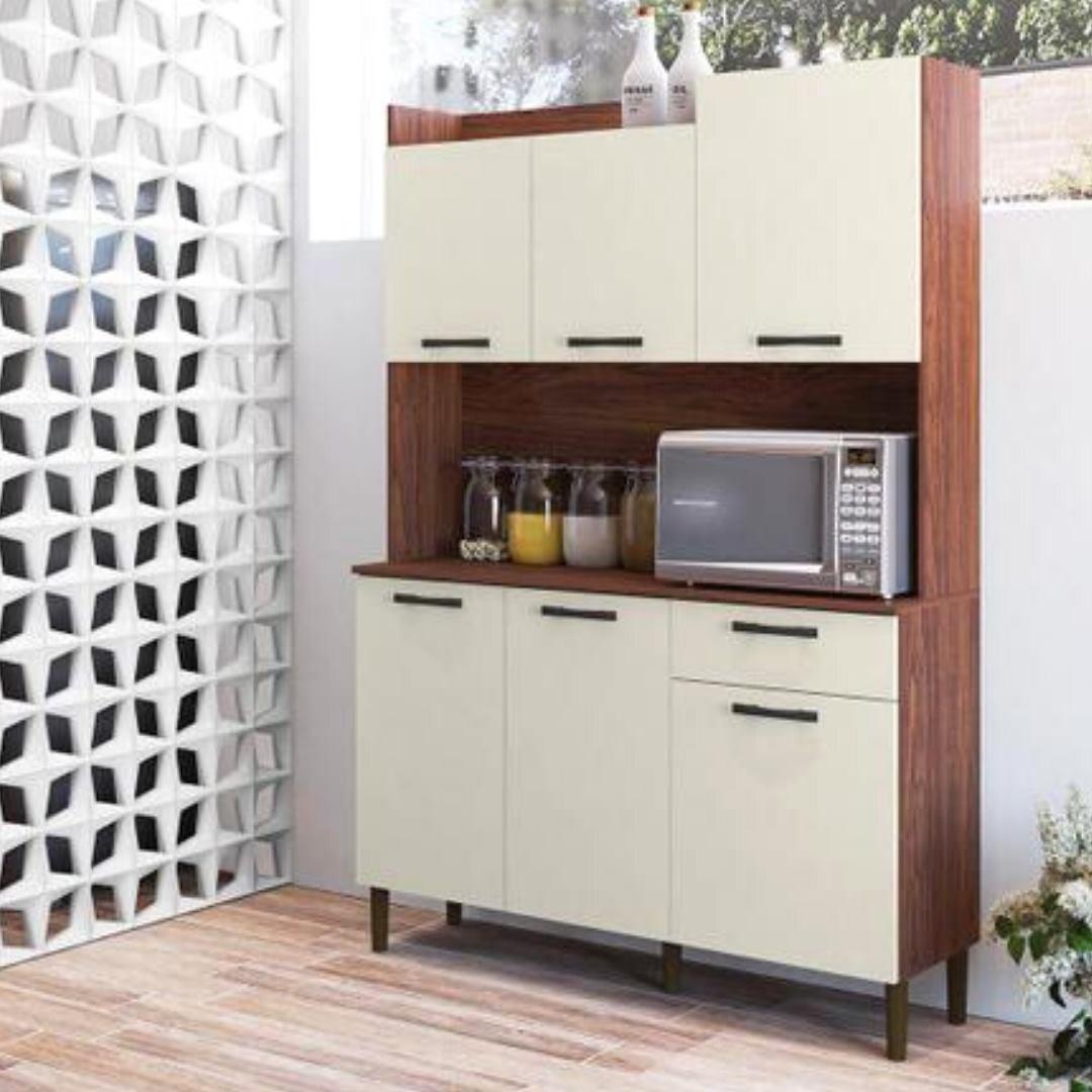 Kit Cozinha Kits Paraná Gênova com Balcão – com Tampo 6 Portas 1 Gaveta
