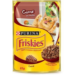15 Unidades Nestlé Purina Friskies Ração Úmida Para Gatos Adultos Carne Ao Molho 85G