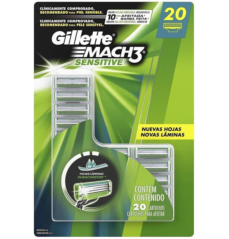 Carga para Aparelho de Barbear Gillette Mach3 Sensitive 20 unidades