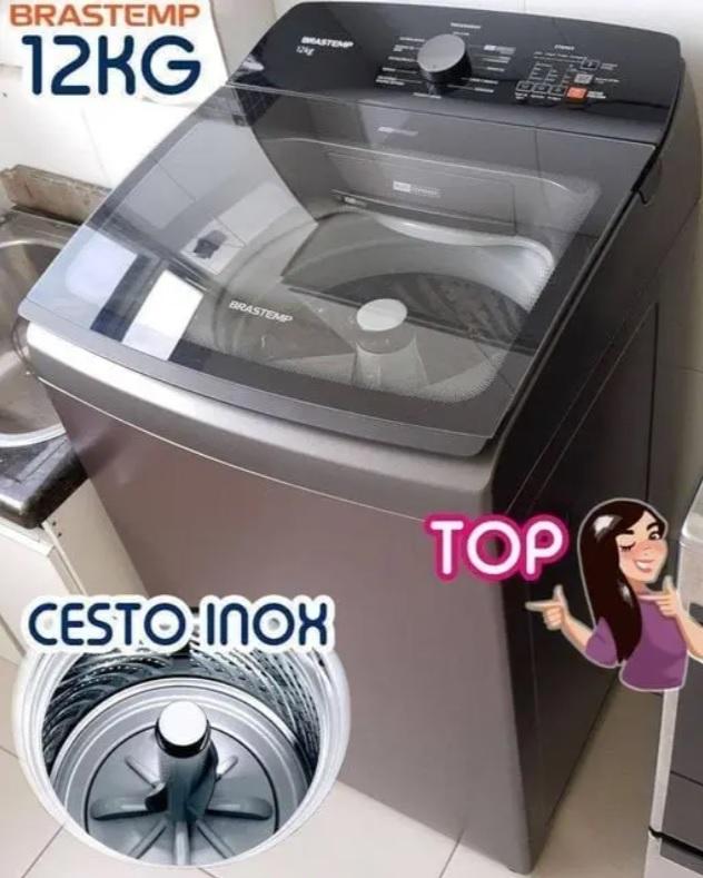 Máquina de Lavar Brastemp 12Kg titânio Água Quente com Ciclo Tira Manchas Pro e Ciclo Antibolinha – BWR12A9
