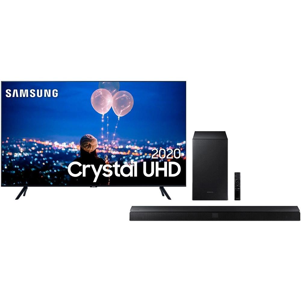 "Samsung Smart TV 65"" Crystal UHD 65TU8000 4K, Wi-fi, Borda Infinita, Alexa built in, Controle Único, Visual Livre de Cabos + Soundbar Samsung Hw-t555 2.1 Canais Subwoofer Wireless Bluetooth HDMI – 320w"