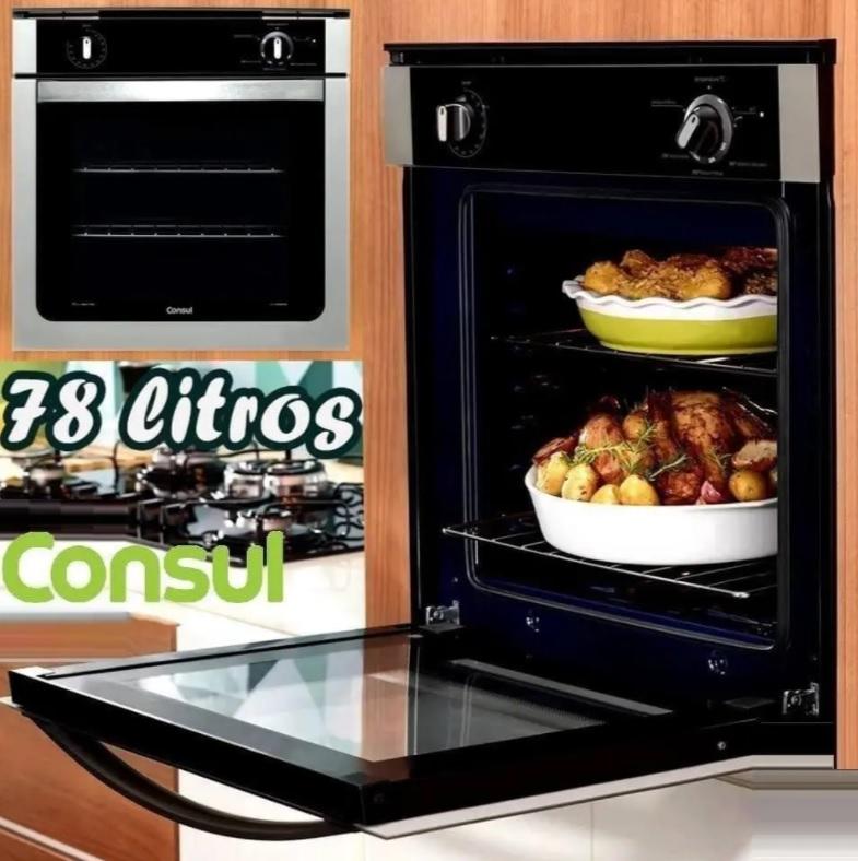 Forno de embutir a gás Consul 78 litros Prata com grill e timer sonoro – COA84BR – 220V