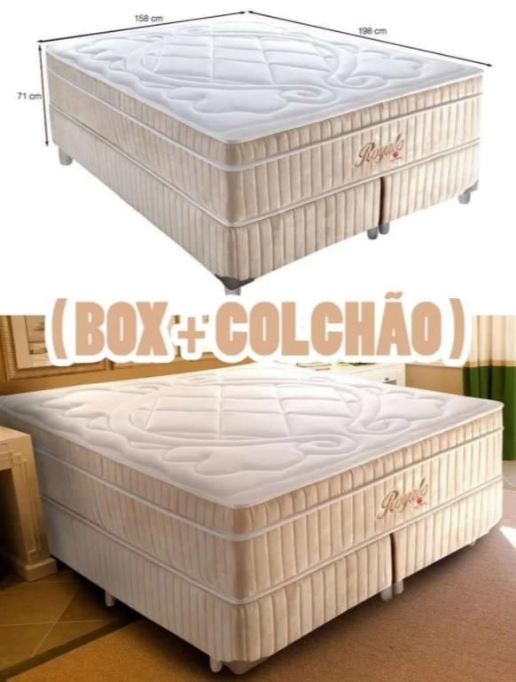 Cama Box Queen Royale com Colchão Queen Molas Ensacadas Bege e Branca