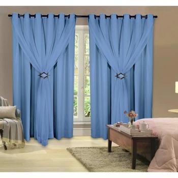 Cortina 100% Corta Luz Com Forro Blackout PVC Com Voil 2,00M X 2,50M Azul Para Varão Simples